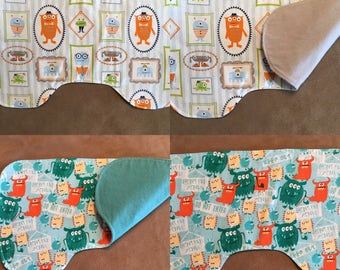 Baby and toddler item - Burp cloth -  Flannel burp cloth - countoured burp cloth