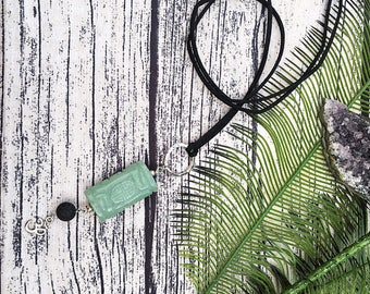 ON SALE! Handcraft jewelry, boho necklace, diffuser necklace, carved Aventurine pendant, om necklace