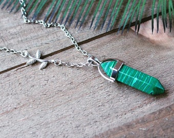 ON SALE! Handcrafted jewelry - Malachite pendant layering necklace with branch charm - healing necklace