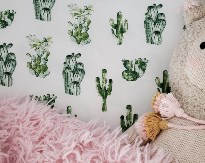 Fitted Crib Sheet - Fitted Pack n Play Sheet - Fitted Mini Crib Sheet - Cactus sheet