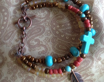 Handcrafted jewelry, Southwest inspired bracelet with cross