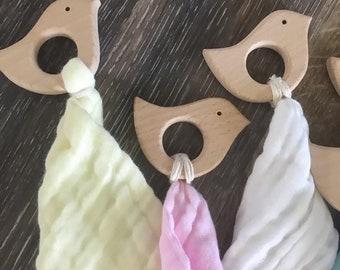Teething ring - wooden teether - bird teether