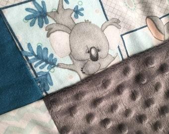 Baby blanket - cotton, flannel, fleece, minky and Sherpa blanket - Koala bear and kangaroo blanket