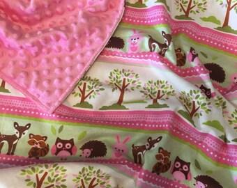 Baby blanket - flannel and minky blanket - crib blanket - owl blanket