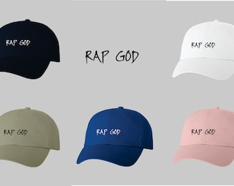 Dad Hat Baseball Cap Embroidered RAP GOD 3dd6e4ca2ce