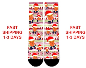 Custom Donald Trump Ugly Christmas Sweater Crew Socks NEW