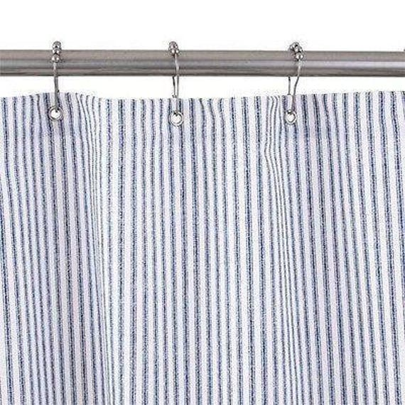 Blue Ticking Stripe Shower Curtain Made In USA