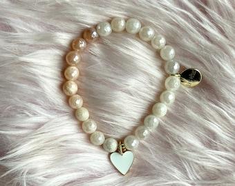 Pink Aventurine Crystal Intention Bracelet with Rose Gold Heart Pendant