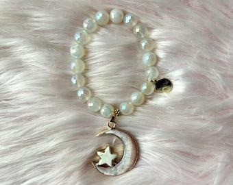 Mystic Rainbow Agate Moon Goddess Intention Bracelet