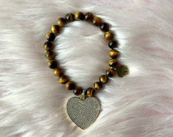 Tiger's Eye Crystal Intention Bracelet with Gold Heart Pendant