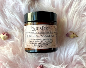 Rose Gold Opulence Organic Shimmering Whipped Body Butter with 24 KT Gold Flakes