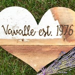 Custom Hand Burned Last Name Established Sign Barn Wood Heart