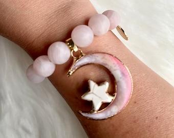 Rose Quartz Moon Goddess Intention Bracelet