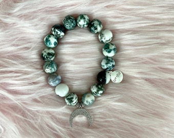 Tree Agate Crystal Intention Bracelet with CZ Crescent Moon Pendant