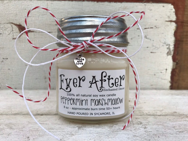Peppermint Marshmallow  100% All Natural Soy Wax Candle image 0