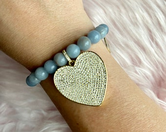 Angelite Crystal Intention Bracelet with Gold Heart Pendant