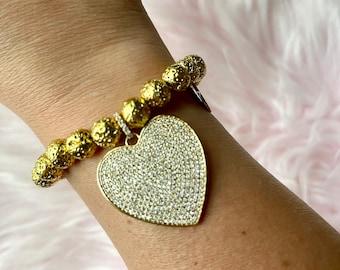 Volcanic Lava Stone Intention Bracelet with Gold Heart Pendant