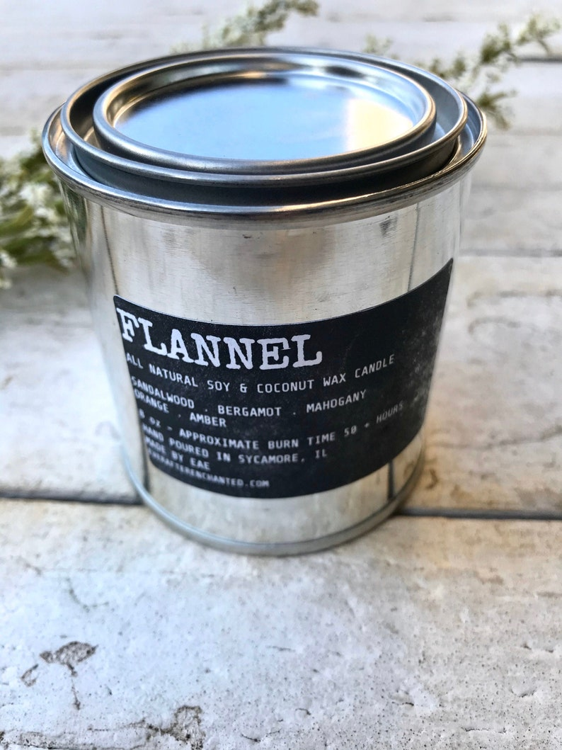Flannel  Men's All Natural Soy and Coconut Wax Candle image 0