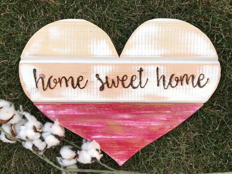 Hand-burned Distressed Wood Heart  home sweet home image 0