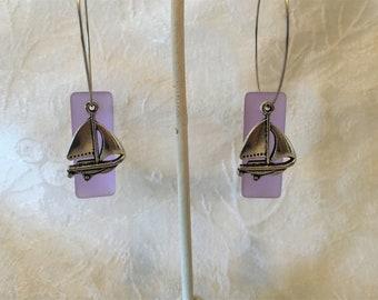 58906c779 Sea Glass Sail Boat Hoop Earrings Tibetan Silver Charm Pierced Earrings