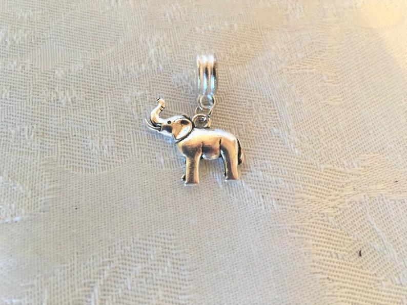 3mm Baby Elephant Charm And Hanger For European Bracelet  Tibetan Silver