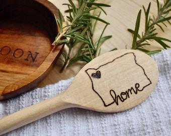 Wood Burned Cooking Spoon in Custom State