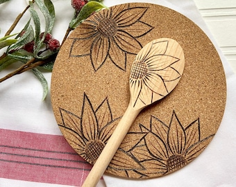 Hand Burned Sunflower Cooking Spoon and Trivet Set
