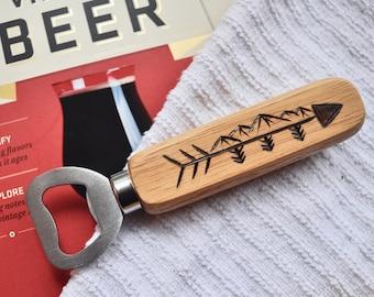 Handheld Bottle Opener with Wood Burned Handle in Adventure Arrow