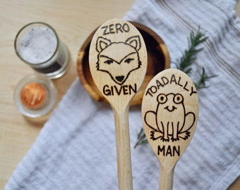 Wood Burned Cooking Spoon Set of 2 in Sassy Animals