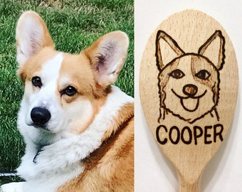 CUSTOM Wood Burned Dog or Cat Cooking Spoon