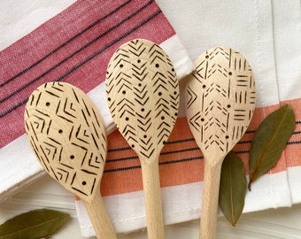 Wood Burned Cooking Spoon Set of 3 in Geometric Prints