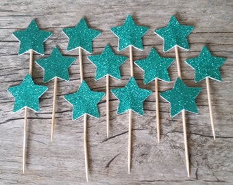 12 Teal Star Cupcake Toppers