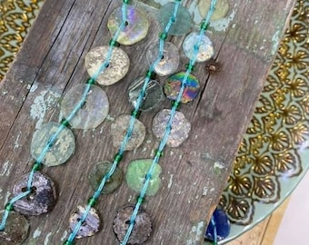 Roman Glass Coin Beads Green Rainbow Natural aged beads /   Ancient Rare Beads / unique beautiful disc beads