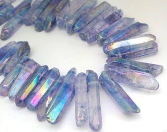 Blue Titanium Plated Crystal Polished Quartz Point Bead, Top drilled Quartz Point /Rustic Quartz Bead /Mystic Quartz Bead 20-36 mm approx