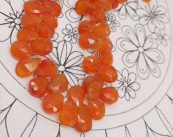 Fire Carnelian Briolette Beads 9-10 mm  / TOP Quality Carnelian beads / Carnelian Rustic Handcut Teardrops / Fire Carnelian Gemstone Beads