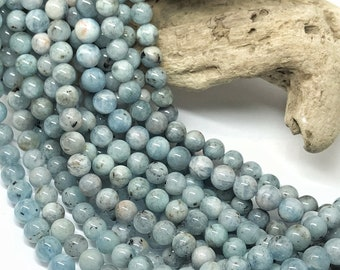 Natural rustic  Blue Round Aquamarine beads / 8 mm approx/ Soft Pale Blue Gemstone Beads / Tonal variance AND inclusions