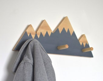 Mountain Peak Wall Hooks, Woodland Nursery, Woodland Nursery Decor, Wall Hooks For Kids