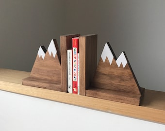 Mountain Peak Book ends, Woodland Nursery Decor, Stained Wooden Bookends, Bookends for kids, Mountain Book Ends, Hike Decor