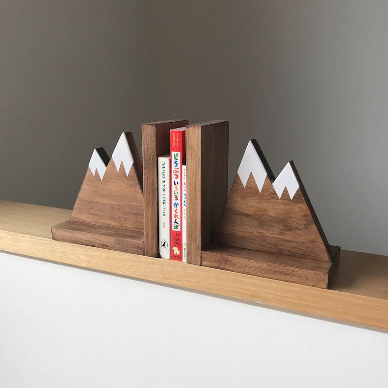 Mountain Peak Book ends Woodland Nursery Decor Stained image 0