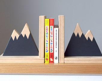 Mountain Peak Bookends,  Woodland Nursery Decor, Modern Bookends, Bookends for Kids, Mountain Peak Decor, Book Decor, Kid Decor,Scandi Style