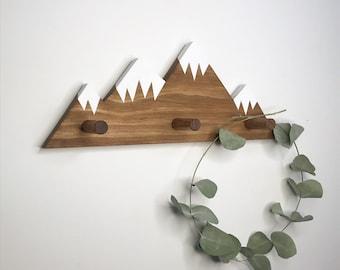 Mountain Peak Wallhooks, Woodland Nursery Decor, Rustic Wood Decor, Mountain Wall Hook, Wooden Wall Hook for Kids, Baby Shower Gift