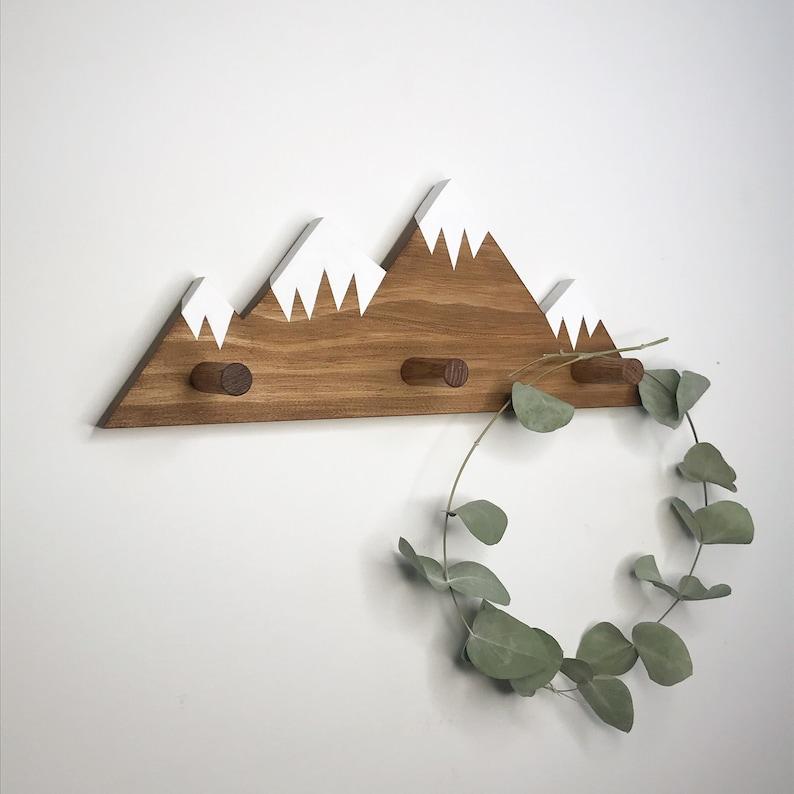 Mountain Peak Wallhooks Woodland Nursery Decor Rustic Wood image 0