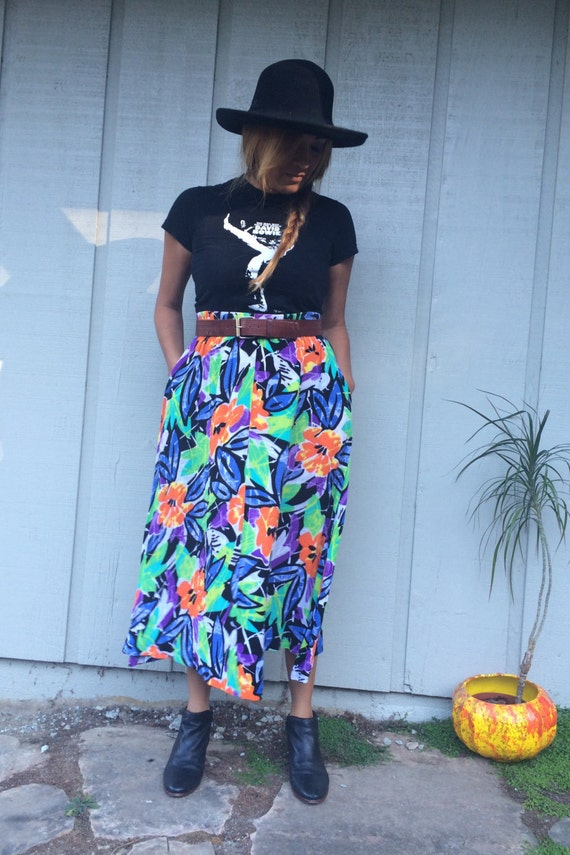 Size Small Abstract Print Maxi Skirt Vintage 80/'s  High Waist Printed Pleated Skirt