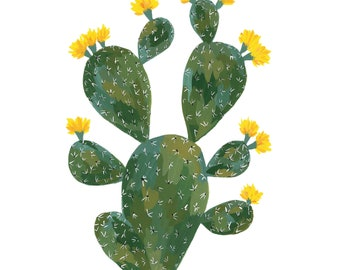 Yellow Prickly Pear Cactus Print