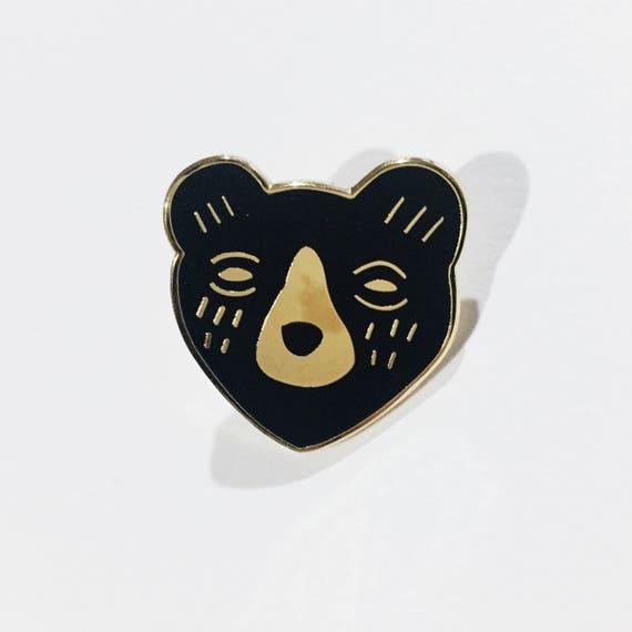 B GRADE * Black Bear Enamel Pin