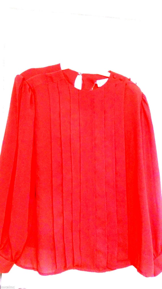 Vintage Sz 42 Long Sleeve Blouse Solid Red Polyester Evening Etsy