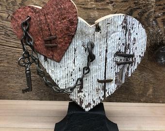 Rustic barn wood heart with vintage key