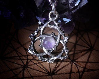 Celtic triquetra pendant with amethyst, labradorite or rainbow moonstone, celtic trinity knot necklace, esoteric jewelry