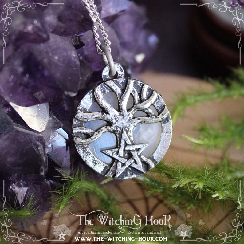 Yggdrasil pendant Tree of life and pentagram necklace with rainbow moonstone pagan jewelry
