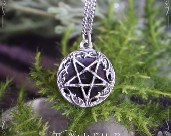Inverted pentagram pendant, satanic necklace with onyx or amethyst, esoteric jewelry